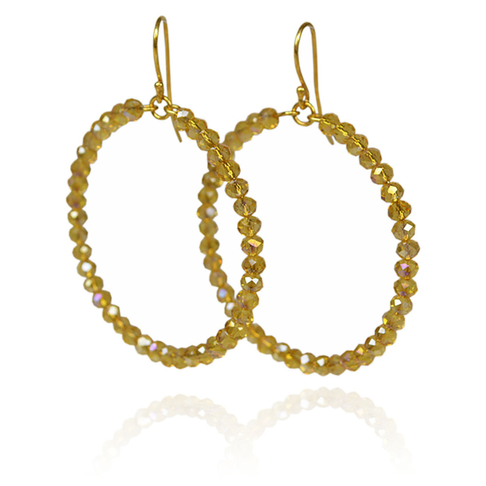 Gold Plated Silver Faceted Gold Coloured Crystals Hoop Earrings