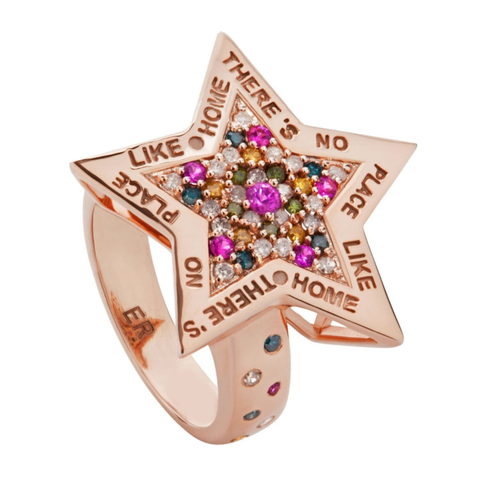 18kt Rose Gold Diamond & Sapphire There's No Place Like Home Ring