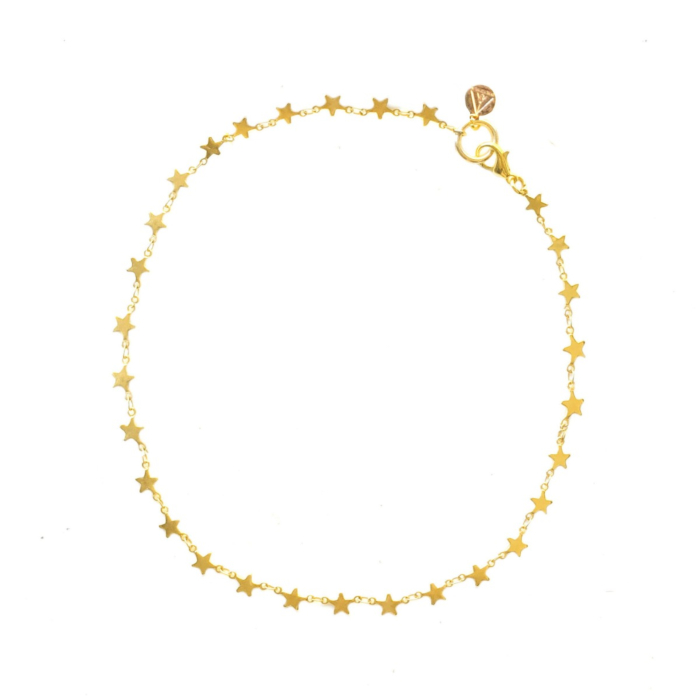 18kt Yellow Gold Plated Stars Align Chain Necklace