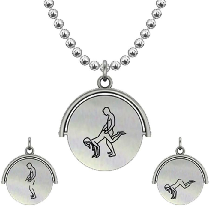 Allumersutra 30MM Silver Pendant Necklace - Girl And Boy - The Plough