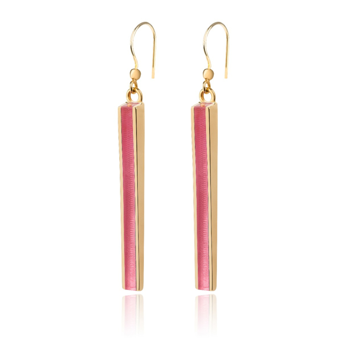 Gold Vermeil Thunder Earrings With Bubble Gum Resin