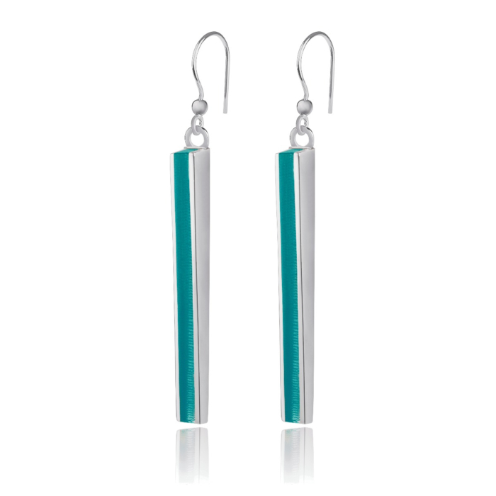 Silver Thunder Earrings With Marine Resin
