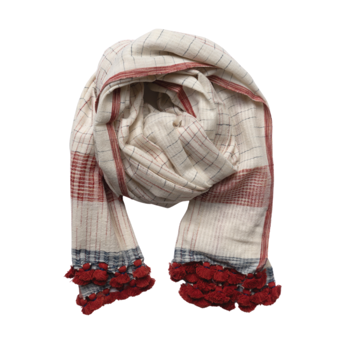 Checked Organic Cotton Scarf With Red Pom Poms