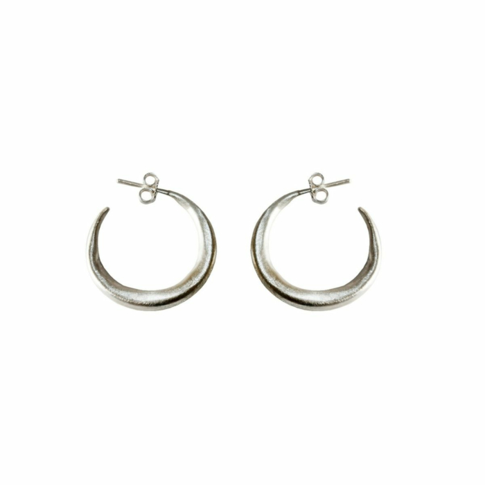 Silver Small Chenier Hoop Earrings