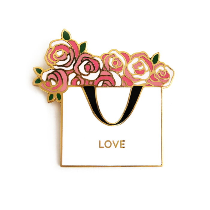 Love Floral Bag Enamel Pin