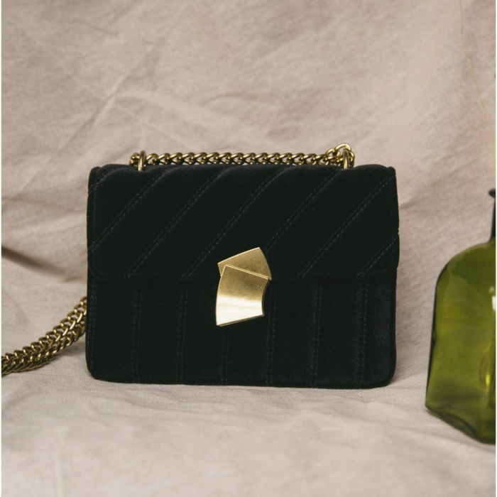 Valentina Velvet Crossbody Bag In Black