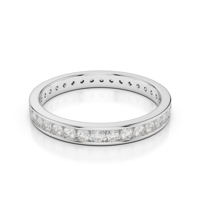 18kt White Gold Full Eternity Ring With Round-Cut, Channel-Set Diamonds