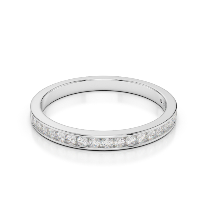 18kt White Gold Half Eternity Ring With Round-Cut, Channel-Set Diamonds II