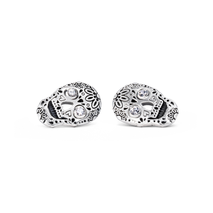 Sterling Silver & White Sapphire Skull Stud Earrings