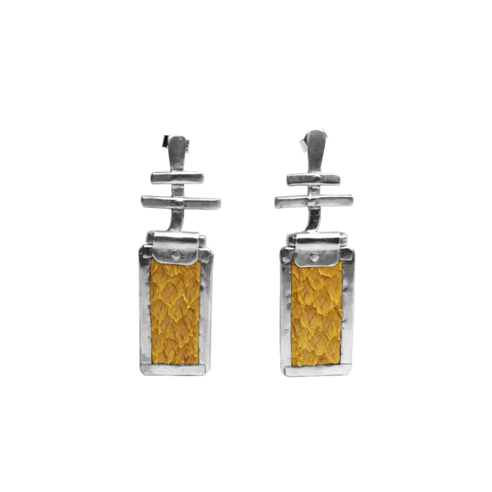 Sterling Silver & Yellow Salmon Leather Freya Statement Earrings | Nord Collection