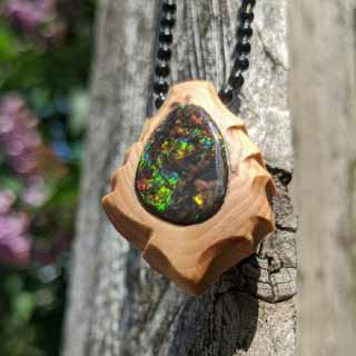Ammolite Set in Burl Necklace | Stone N' Seed