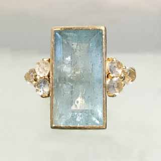 14kt Yellow Gold Aquamarine & White Topaz Inspiration Ring | Pam Older Designs