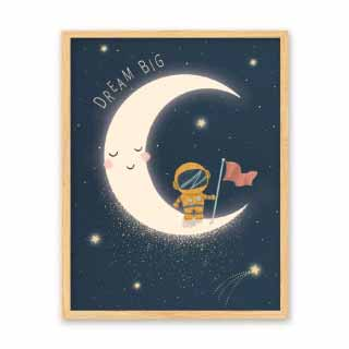 Astronaut On Moon, Space Bedroom Print | Bobby & Bella
