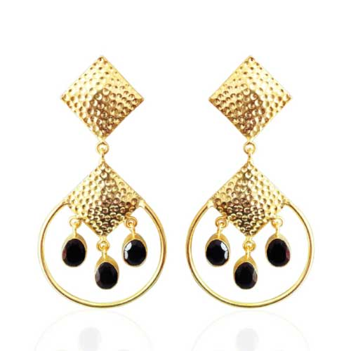 18kt Yellow Gold Plated Black Onyx Chandelier Earrings | Bhagat Jewels