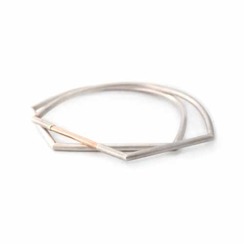 9kt Rose Gold & Silver Geometric Bangle | Simplicated Jewelry