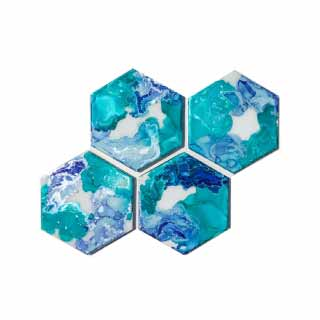 Hexagon Tile Alcohol Ink Coasters | WAWL Decor