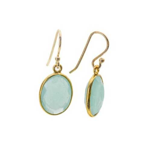 Gold Plated Oval Aqua Chalcedony Hook Earrings | Argent of London