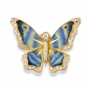 Gold Plated Sterling Silver Butterfly Brooch | namana