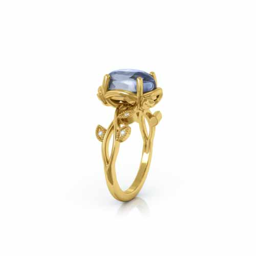 18kt Fair-trade Yellow Gold Amelia Moonstone & Diamond Ring | Limitless Designs London