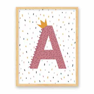 Personalised Initial, Alphabet Print in Pink | Bobby & Bella