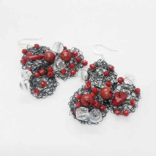 Wire & Red Coral Earrings | Maria Kanale - Unique Jewels
