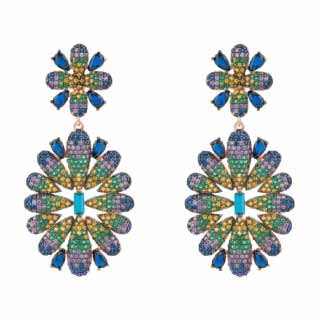 Rose Gold Plated Babylon Multi-Coloured Flower Drop Earrings | Latelita London