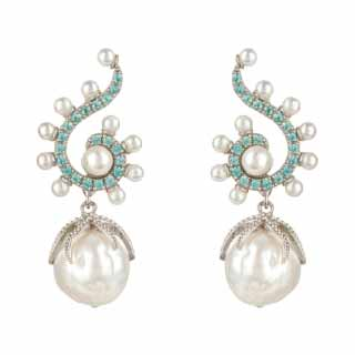Sterling Silver Baroque Pearl & Aqua Gemstone Drop Earrings | Latelita London