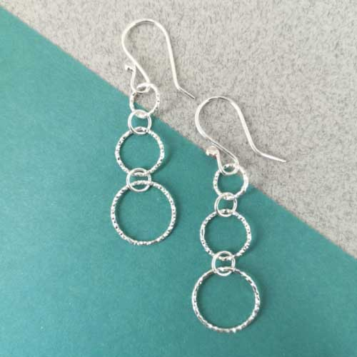 Sterling Silver Sparkly Circles Drop Earrings | AH Jewellery