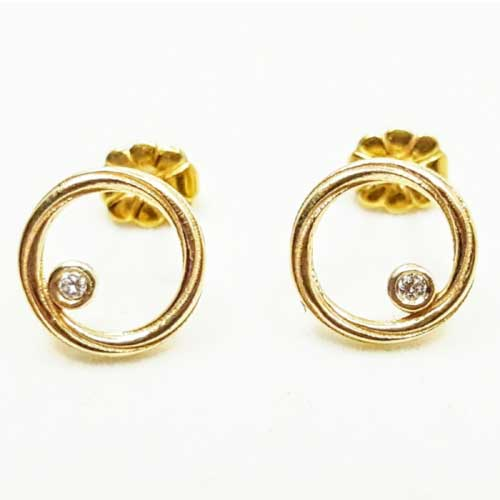 9kt Gold & Diamonds Twist Continuum Earrings | Alice Gow Designs